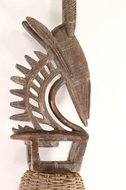 Burkina Faso, Mossi, antilope crest mask, with painted geometrical patterns and …