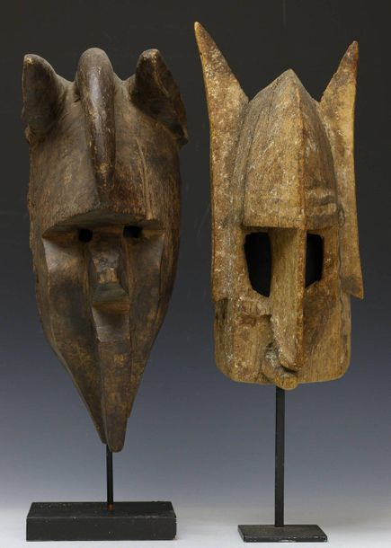 Mali, two weathered old mask;, Dogon and Bamana. Private Berlin collection., h. …