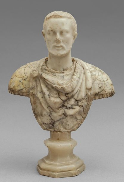 OGGETTISTICA Imperatore busto in marmo statuario con base in alabastro sec.XVII …