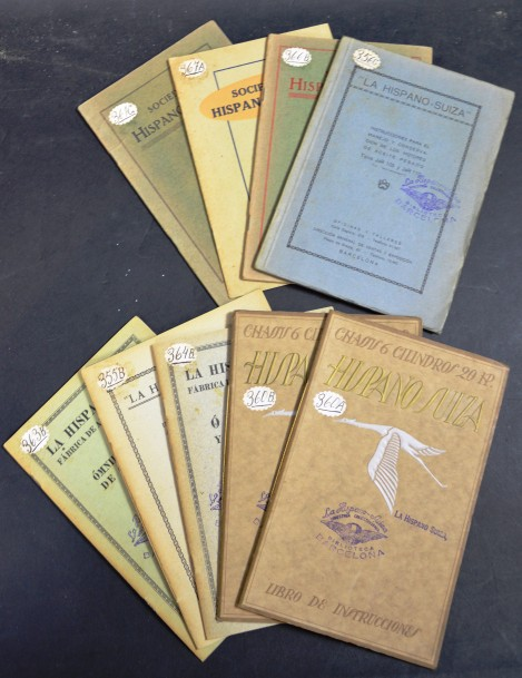 """Documents archives Hispano-Suiza"" Lot de 9 catalogues Hispano Suiza vers 1925,…"