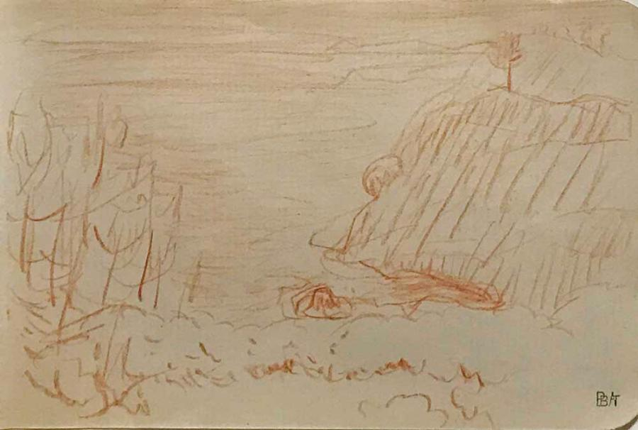 PIERRE BONNARD (1867-1947) Marine, 1921 Dessin à la sanguine Cachet de la Collection…
