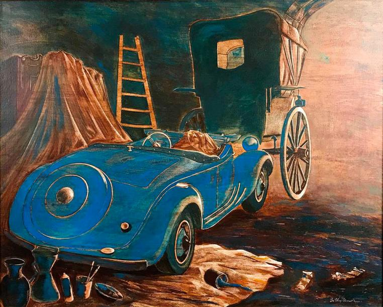 BILLY RENOIR (Né en 1943) Voiture bleue au garage Huile sur toile signée en bas…