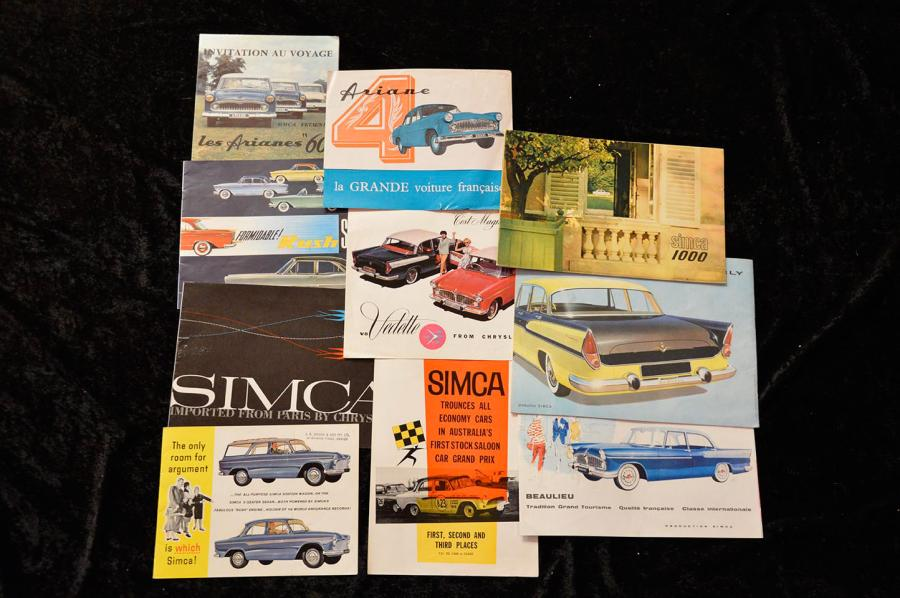 """Catalogues Simca de 1957 à 1970""   Aronde : Catalogue, 8 pages- 15 Dépliants, 3…"