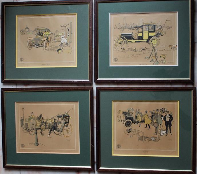 "René VINCENT (1879- 1936)  "" 4 Lithographies""  Collection de 4 lithographies signées…"