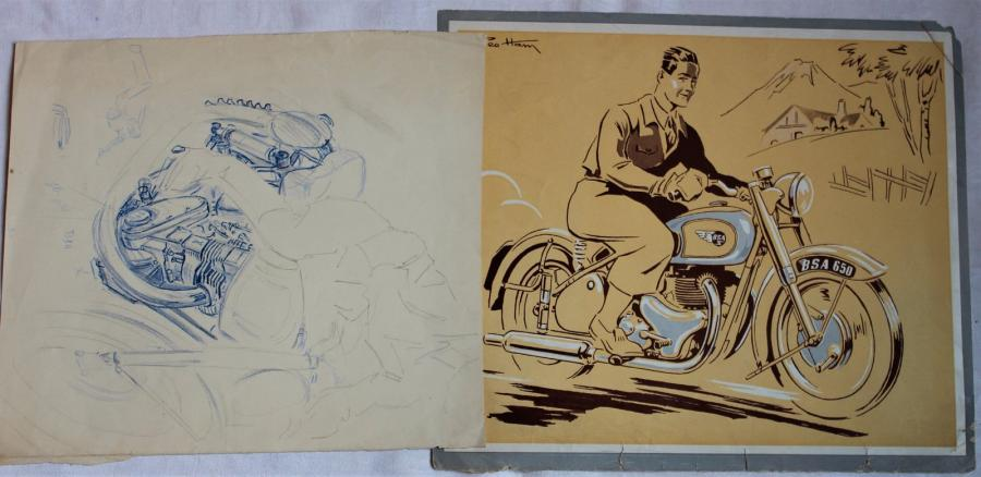 BSA Gold star et deux dessins de Motos en Course