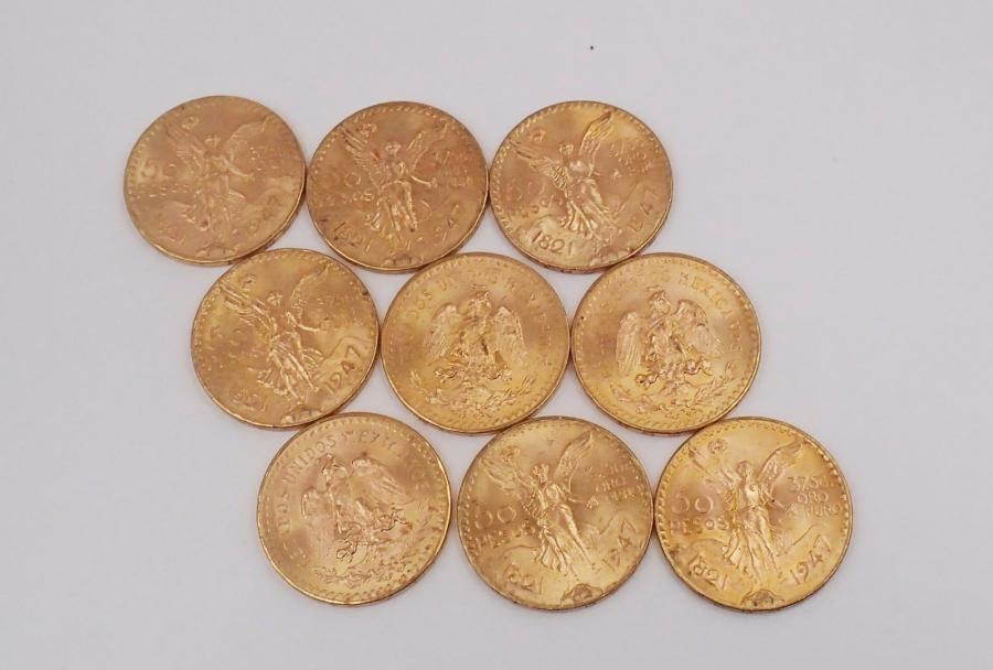 LOT de 9 PIECES de 50 PESOS en or jaune. Poids brut : 369 g 9 yellow gold coin from…