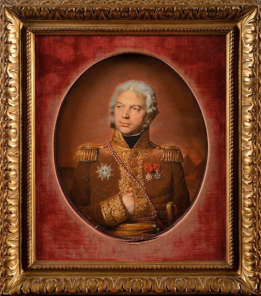 Joseph HEIGEL (Munich, 1780 – Paris, 1837) Portrait du Général de Damas en buste…