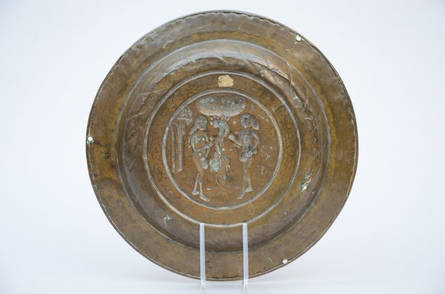 A copper Renaissance offering dish 'Adam and Eva' (*) (38cm)