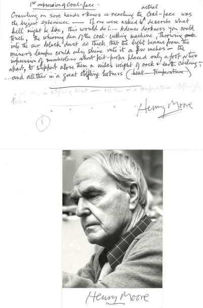 *Henry MOORE. MANUSCRIT autographe signé, 1st impression of coal face ; 1 page o…