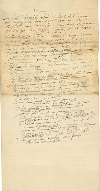 *Albert SAMAIN (1858 1900). 2 POEMES autographes ; 1 page in 8 et 2 pages in 4. …