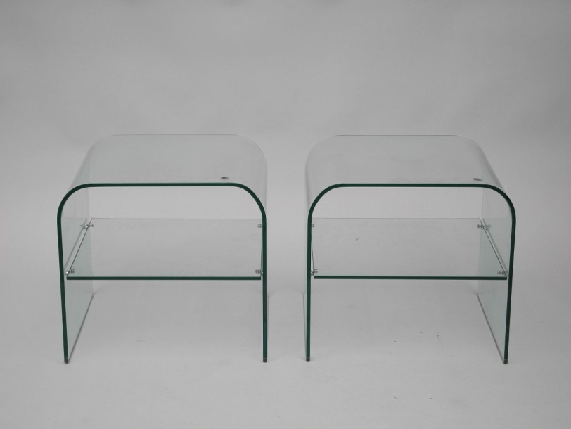 Marais international 2 tables bout de canap en verre for Table bout de canape en verre
