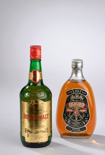 2 bouteilles SCOTCH-WISKY (1 Hedges and Butler Pure Malt, 1 Excalibur 10 Ans d'…