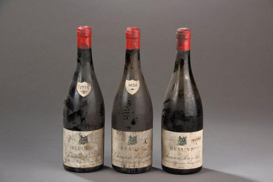 2 bouteilles BEAUNE Chanson 1929 (ets, 1 B, 1 V & SM, on y joint une FLEURIE 28…