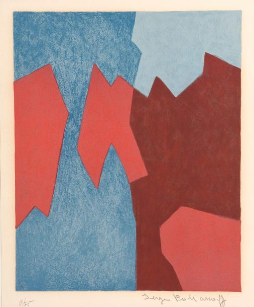 Serge POLIAKOFF (1900-1969). Composition abstraite rouge et bleue. Lithographie…