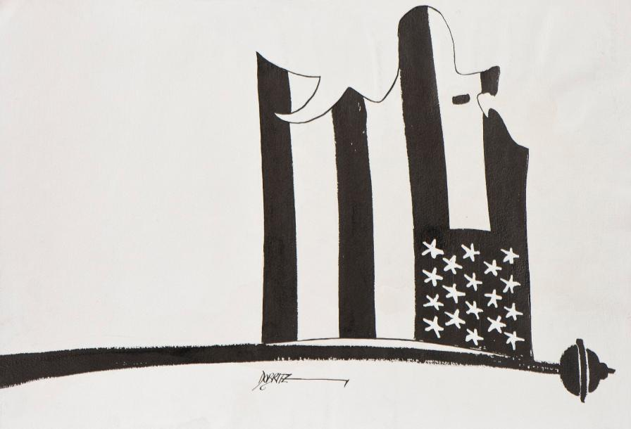 Jean DOBRITZ (Né en 1956). La mort, Le Stars and Stripes, Père Noël regardant une…