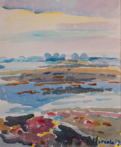 "Claude MARÉCHAL (Saint-Cloud, 1925 - Saint-Cloud, 2009). ""Roscoff"". Aquarelle signée…"