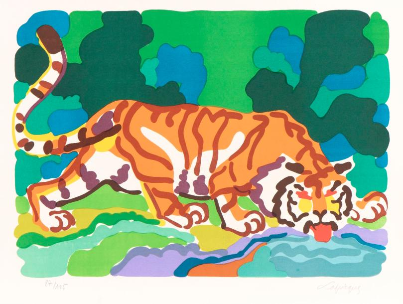 Charles LAPICQUE (Theizé, 1898 - Orsay, 1988). Tigre buvant, 1961. Lithographie…