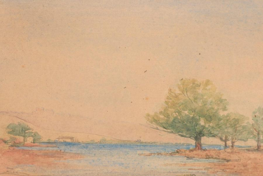 Félix ZIEM (Beaune, 1821 - Paris, 1911). Paysage. Aquarelle sur traits de crayon…