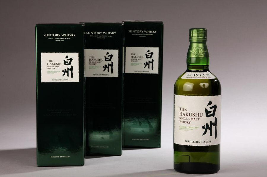 "*3 bouteilles JAPANESE WHISKY ""Single Malt"", The Hakushu (Distiller's reserve, Suntory)…"