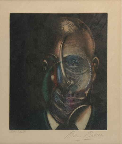 Francis BACON (1909-1992). Portrait de Michel Leiris. Eau-forte et aquatinte en…