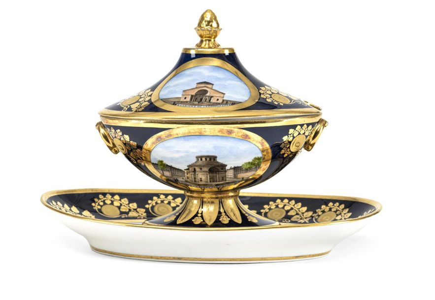 A FRENCH TOPOGRAPHICAL BLUE FOND AND GILT SAUCIERE AND COVER, Darte Frères, Pari…