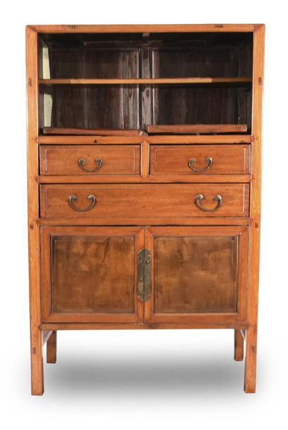 A TWO DOOR AND THREE DRAWER HARDWOOD CABINET, China – 162 x 101 x 50cm