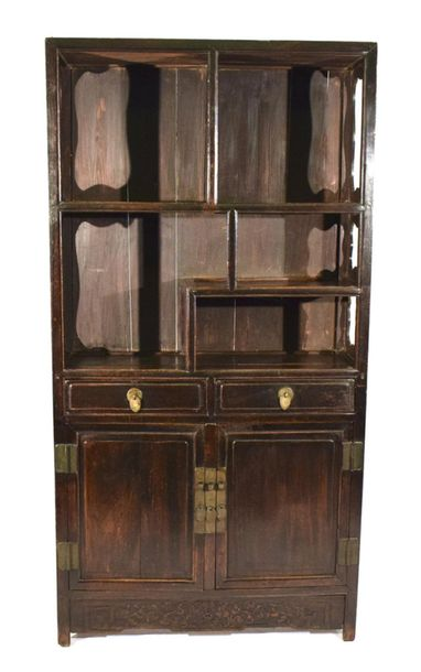 A TWO DOOR AND TWO DRAWER HARDWOOD DISPLAY CABINET, China – 195 x 100 x 39cm