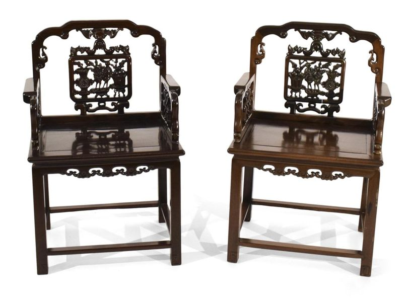 A PAIR OF HARDWOOD CHAIRS WITH ANTIQUITIES DECOR CARVED INTO THE BACKREST, China…