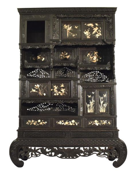 AN IVORY INLAID WOOD CABINET, Japan, Meiji period – H. 198 cm