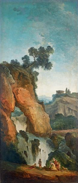 Hubert ROBERT (Paris, 1733-1808) La contemplation d'un bas-relief antique dans une…