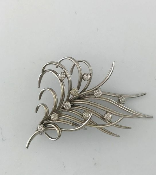 Broche gerbe en or gris et platine 750°/°° rehaussée de diamants TA, circa 1950,…