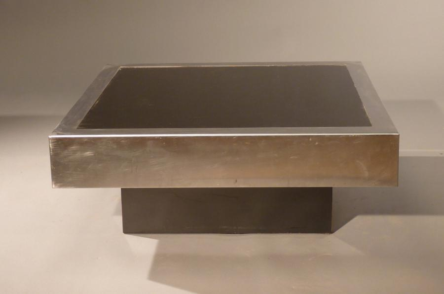 Willy Rizzo Table Basse Plateau Carr En Verre Teint