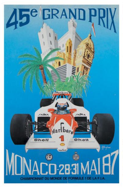 Grand Prix de Monaco 1987 Affiche originale Agence Internationale de Publicité,…