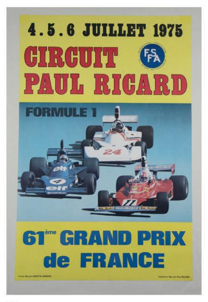 Grand Prix de France 1975 Affiche originale entoilée Photo B. Martin-Dondoz Imprimerie…