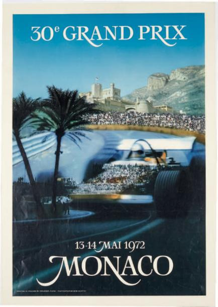 GRAND PRIX DE MONACO 1972 Affiche originale Imp Drager, Paris D'après une photo…