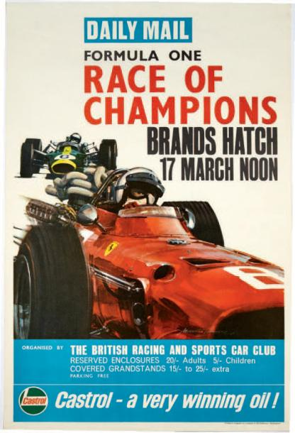 GRAND PRIX DE BRANDS HATCH 1968 Affiche originale du Daily Mail Imp Lonsdale & Batholomew,…