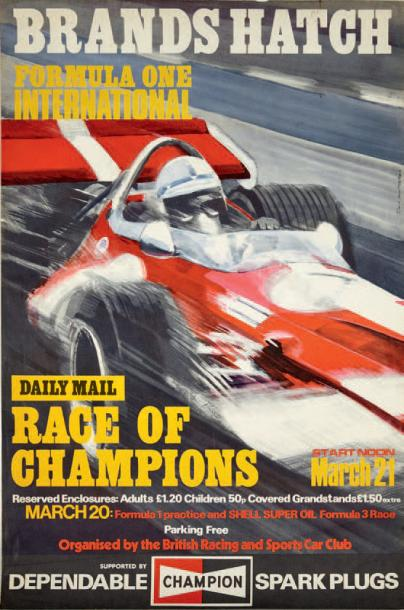 GRAND PRIX DE BRANDS HATCH Affiche originale D'après un dessin de David James et…