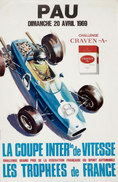 COUPE INTERNATIONALE DE VITESSE 1969 Circuit de Pau Affiche originale Imp. Thivillier…