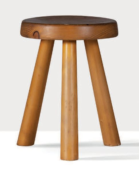 CHARLOTTE PERRIAND (1903 1999) Tabouret Sapin 44.5 x 31 cm. 1968 Provenance: Sta…