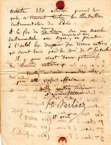 Hector BERLIOZ (1803-1869). L.A.S., 15 avril [1855], à Jules Lecomte ; 2 pages in-8.…