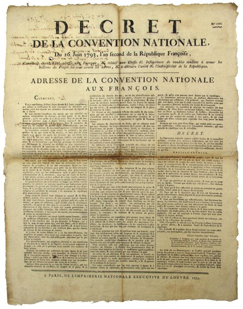"""1793 - PARIS – « ADRESSE de la CONVENTION NATIONALE aux FRANÇAIS » - ""Décret de…"