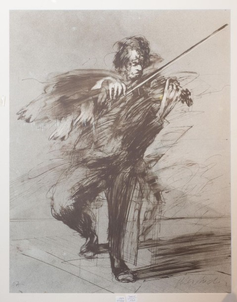 WESBUCH, le violoniste, lithographie.