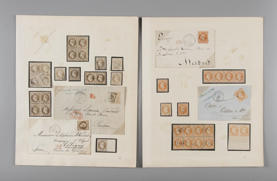France, collection Empire Lauré - Neuf et oblitérés, blocs, bandes, lettres. - Bel…