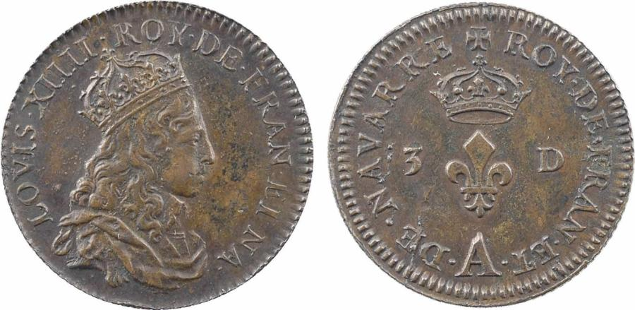 France, Louis XIV, essai-piéfort multiple du liard de 3 deniers, s.d. Paris (frappe…