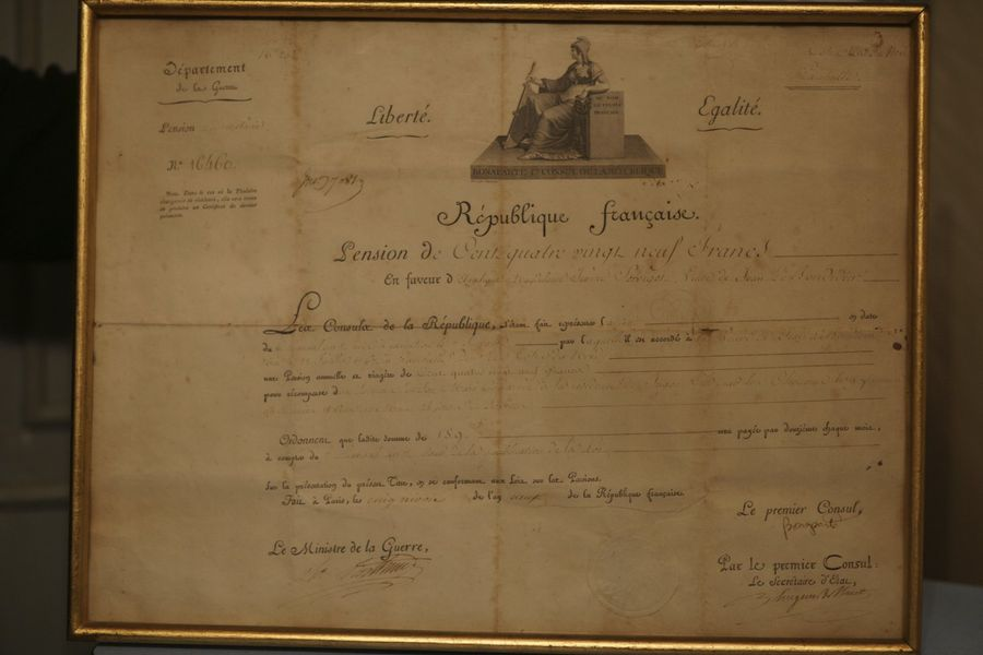 Diplôme de pension, 1er Empire.