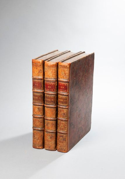 RACINE. Œuvres. Paris. 1760. 3 volumes in-4, plein veau tacheté, , triple filets…