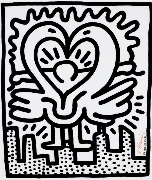Keith Haring (1958-1990) Kutztown connection, 1984 Sérigraphie offset, signée et…