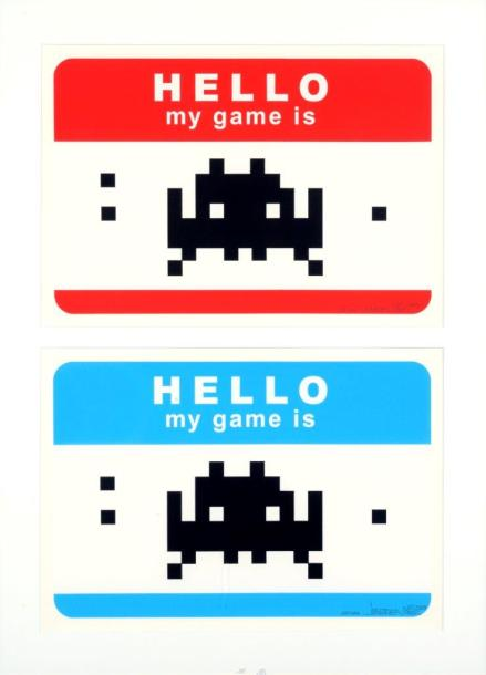 INVADER (Français, né en 1969) Hello my game is (blue and red), 2009  Deux sérigraphies…
