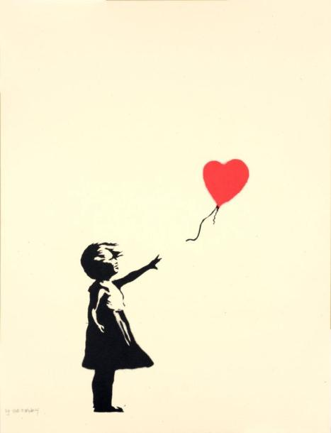 BANKSY (Britannique, né en 1975) Girl with Balloon, 2004 Sérigraphie en couleurs…