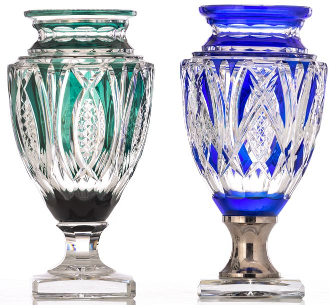 A blue overlay cut crystal Val Saint Lambert Jupiter vase, with a silvered mount…